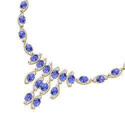 65.60 CTW Royalty Tanzanite & VS Diamond Necklace 18K Yellow Gold - REF-1345W5H - 39005