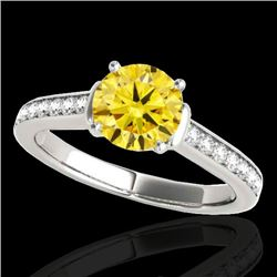 1.5 CTW Certified Si Fancy Intense Yellow Diamond Solitaire Ring 10K White Gold - REF-174Y5N - 34932
