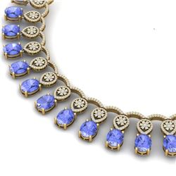57.56 CTW Royalty Tanzanite & VS Diamond Necklace 18K Rose Gold - REF-1597H3W - 39070