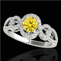 1.38 CTW Certified Si Fancy Intense Yellow Diamond Solitaire Halo Ring 10K White Gold - REF-174F5M -