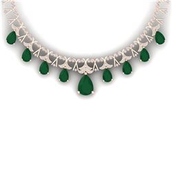 56.94 CTW Royalty Emerald & VS Diamond Necklace 18K Rose Gold - REF-1236M4F - 38701