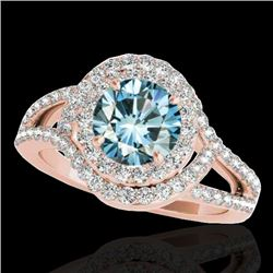 1.9 CTW SI Certified Fancy Blue Diamond Solitaire Halo Ring 10K Rose Gold - REF-209K3R - 34393