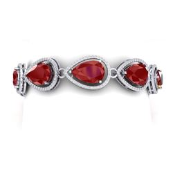 42.47 CTW Royalty Ruby & VS Diamond Bracelet 18K White Gold - REF-654M5F - 39558