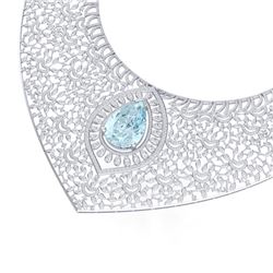 63.27 CTW Royalty Sky Topaz & VS Diamond Necklace 18K White Gold - REF-2454X5T - 39579