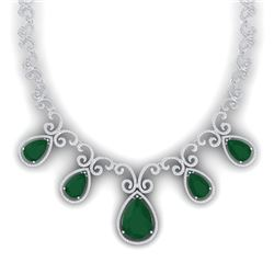 38.42 CTW Royalty Emerald & VS Diamond Necklace 18K White Gold - REF-1218T2X - 39525