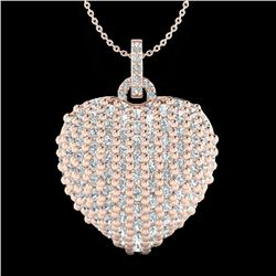 3 CTW Micre Pave VS/SI Diamond Certified Designer Heart Necklace 14K Rose Gold - REF-189R6K - 20465