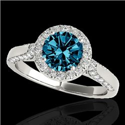 1.5 CTW SI Certified Fancy Blue Diamond Solitaire Halo Ring 10K White Gold - REF-176X4T - 33567
