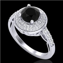 1.7 CTW Fancy Black Diamond Solitaire Engagement Art Deco Ring 18K White Gold - REF-143F6M - 38122