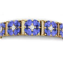 36.98 CTW Royalty Tanzanite & VS Diamond Bracelet 18K Yellow Gold - REF-718M2F - 39023