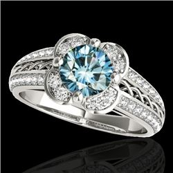 1.5 CTW SI Certified Fancy Blue Diamond Solitaire Halo Ring 10K White Gold - REF-180M2F - 34261