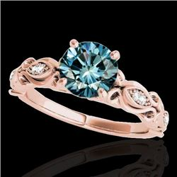 1.1 CTW SI Certified Fancy Blue Diamond Solitaire Antique Ring 10K Rose Gold - REF-156H4W - 34636