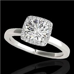 1.15 CTW H-SI/I Certified Diamond Solitaire Halo Ring 10K White Gold - REF-163W5H - 33400