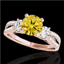 1.5 CTW Certified Si Intense Yellow Diamond 3 Stone Solitaire Ring 10K Rose Gold - REF-172F8M - 3541