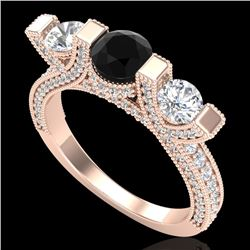 2.3 CTW Fancy Black Diamond Solitaire Micro Pave 3 Stone Ring 18K Rose Gold - REF-200M2F - 37640