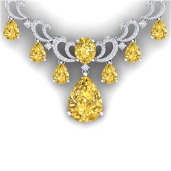 36.50 CTW Royalty Canary Citrine & VS Diamond Necklace 18K White Gold - REF-872T8X - 38667