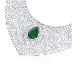 63.93 CTW Royalty Emerald & VS Diamond Necklace 18K White Gold - REF-2690T9X - 39570