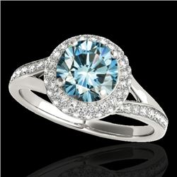 1.6 CTW SI Certified Fancy Blue Diamond Solitaire Halo Ring 10K White Gold - REF-178W2H - 34119