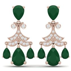 11.97 CTW Royalty Emerald & VS Diamond Earrings 18K Rose Gold - REF-176K4R - 38716