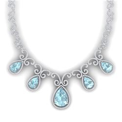 40.45 CTW Royalty Sky Topaz & VS Diamond Necklace 18K White Gold - REF-1036F4M - 39534