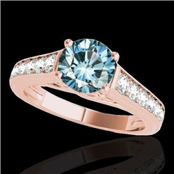 1.5 CTW SI Certified Fancy Blue Diamond Solitaire Ring 10K Rose Gold - REF-169R3K - 34904