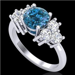 2.1 CTW Intense Blue Diamond Solitaire Engagement Classic Ring 18K White Gold - REF-270N9Y - 37607