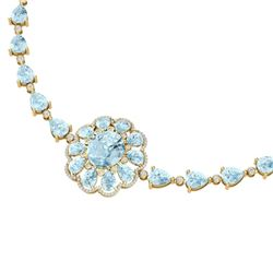 75.99 CTW Royalty Sky Topaz & VS Diamond Necklace 18K Yellow Gold - REF-472M8F - 39179