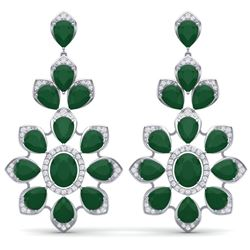 51.8 CTW Royalty Emerald & VS Diamond Earrings 18K White Gold - REF-527K3R - 39045