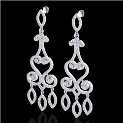 3.25 CTW VS/SI Diamond Certified Micro Pave Designer Earrings 14K White Gold - REF-253M6F - 22415