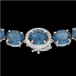 177 CTW London Blue Topaz & VS/SI Diamond Halo Micro Necklace 14K White Gold - REF-563F5M - 22303