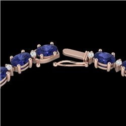 34 CTW Tanzanite & VS/SI Diamond Certified Eternity Tennis Necklace 10K Rose Gold - REF-281W8H - 216
