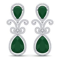 31.6 CTW Royalty Emerald & VS Diamond Earrings 18K White Gold - REF-445K5R - 39540