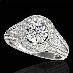 1.7 CTW H-SI/I Certified Diamond Solitaire Halo Ring 10K White Gold - REF-233K6R - 33967
