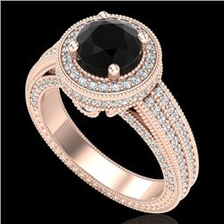 2.8 CTW Fancy Black Diamond Solitaire Engagement Art Deco Ring 18K Rose Gold - REF-236Y4N - 38004