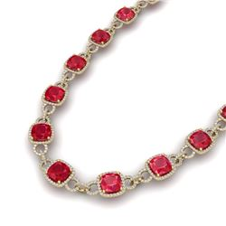 56 CTW Ruby & VS/SI Diamond Certified Necklace 14K Yellow Gold - REF-1003X6T - 23049