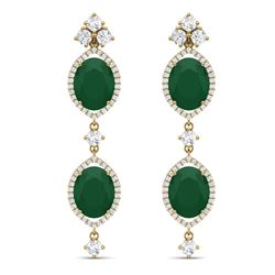 15.81 CTW Royalty Emerald & VS Diamond Earrings 18K Yellow Gold - REF-309M3F - 38906
