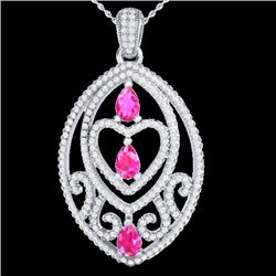 3.50 CTW Pink Sapphire & Micro VS/SI Diamond Heart Necklace 18K White Gold - REF-218K2R - 21290