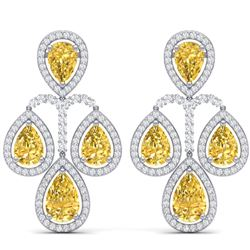 27.85 CTW Royalty Canary Citrine & VS Diamond Earrings 18K White Gold - REF-409H3W - 39372
