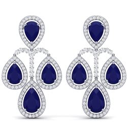 29.23 CTW Royalty Sapphire & VS Diamond Earrings 18K White Gold - REF-472T8X - 39366