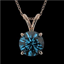 1 CTW Certified Intense Blue SI Diamond Solitaire Necklace 10K Rose Gold - REF-134M5F - 33189