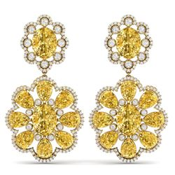 29.9 CTW Royalty Canary Citrine & VS Diamond Earrings 18K Yellow Gold - REF-345N5Y - 39167