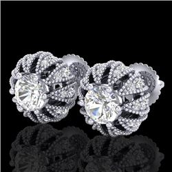 2.01 CTW VS/SI Diamond Art Deco Micro Pave Stud Earrings 18K White Gold - REF-272M8F - 36995