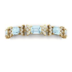 39.65 CTW Royalty Sky Topaz & VS Diamond Bracelet 18K Yellow Gold - REF-356F4M - 39401