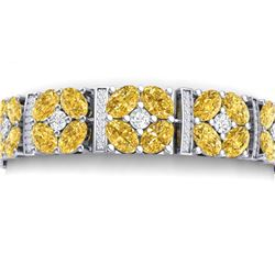34.18 CTW Royalty Canary Citrine & VS Diamond Bracelet 18K White Gold - REF-536H4W - 39027