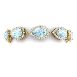 41.87 CTW Royalty Sky Topaz & VS Diamond Bracelet 18K Yellow Gold - REF-418F2M - 38867