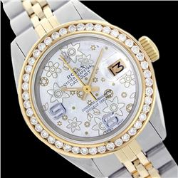 Rolex Ladies Two Tone 14K Gold/SS, Arabic Dial with Diamond Bezel, Saph Crystal - REF-388F4M