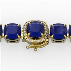 46 CTW Sapphire & Micro Pave VS/SI Diamond Halo Bracelet 14K Yellow Gold - REF-218R2K - 23308