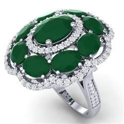 14.4 CTW Royalty Designer Emerald & VS Diamond Ring 18K White Gold - REF-300X2T - 39183