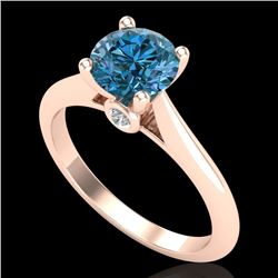 1.36 CTW Fancy Intense Blue Diamond Solitaire Art Deco Ring 18K Rose Gold - REF-227F3M - 38210