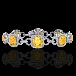 30 CTW Citrine & Micro VS/SI Diamond Certified Bracelet 14K White Gold - REF-368T9X - 23018