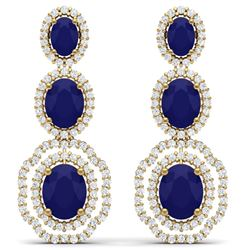17.51 CTW Royalty Sapphire & VS Diamond Earrings 18K Yellow Gold - REF-345F5M - 39209
